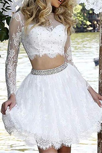 Long Sleeve Lace White Two Pieces Beads Homecoming Dresses Scoop Short Prom Dresses