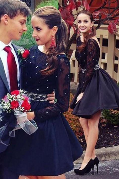 Long Sleeve Navy Blue Bateau Homecoming Dresses Open Back Short Cocktail Dresses
