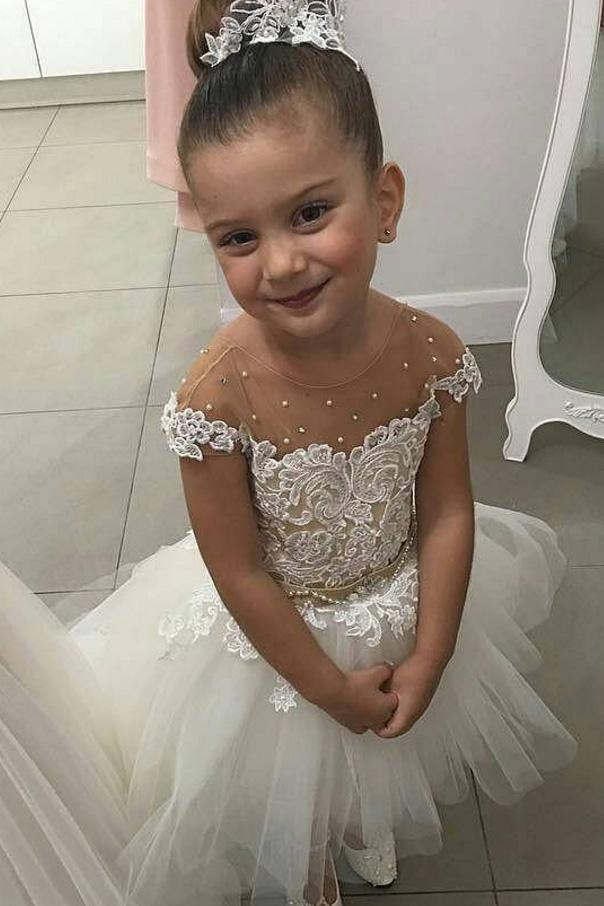 Lovely Flower Girl Dresses Cap Sleeve Pearls Appliques High Low Wedding Party Dress