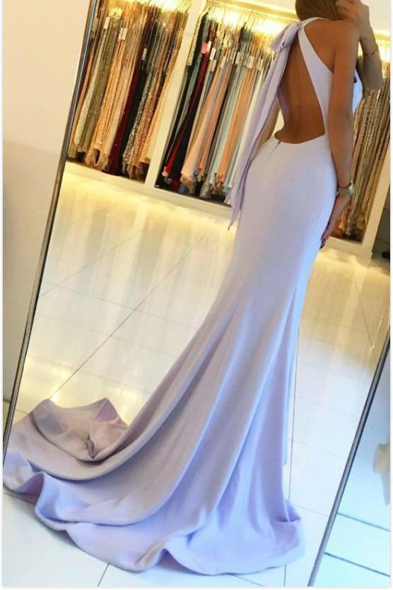 Mermaid Halter Blue Open Back Sleeveless Prom Dresses with Slit Long Dance Dresses