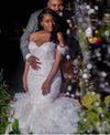 Mermaid Lace Off the Shoulder V Neck Ivory Wedding Dresses with Appliques Bridal Gowns