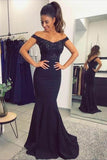 Mermaid Off the Shoulder Navy Blue Sweetheart Prom Dresses with Sequins