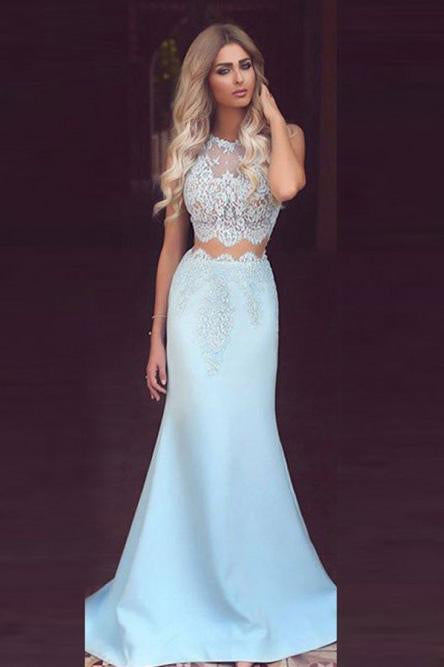 Mermaid Round Neck Sky Blue Satin Prom Dress with Lace Evening Dresses