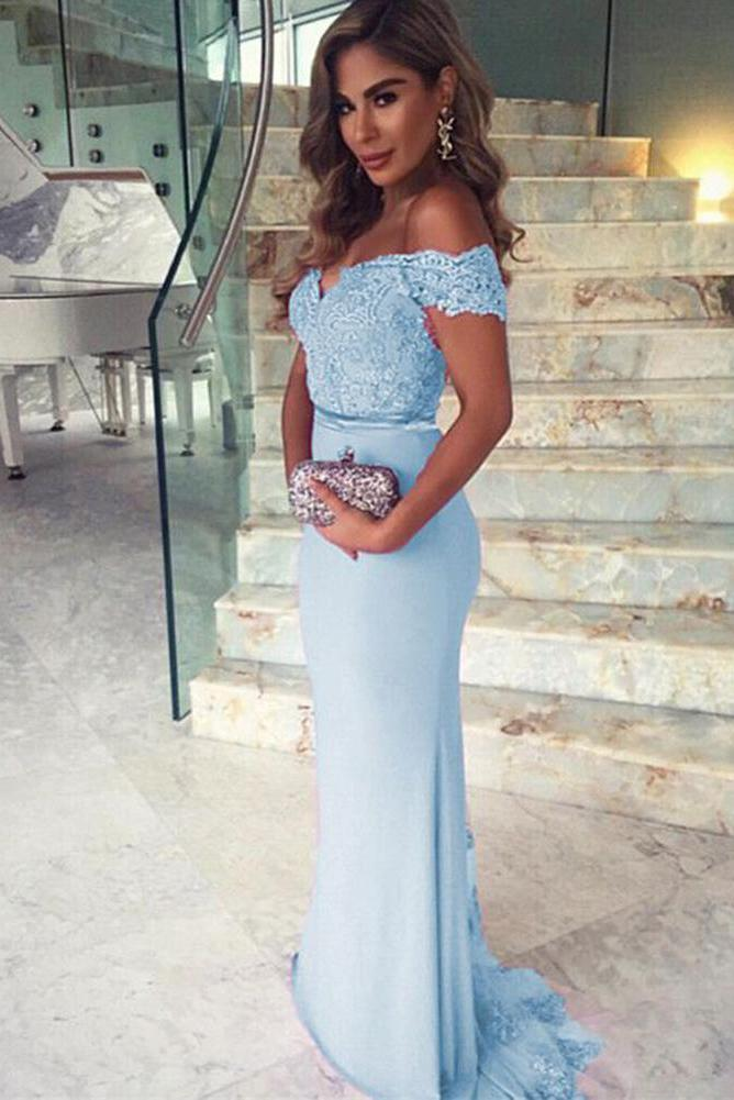 Mermaid Sky Blue Off the Shoulder Prom Dresses Long Sweetheart Satin Evening Dress