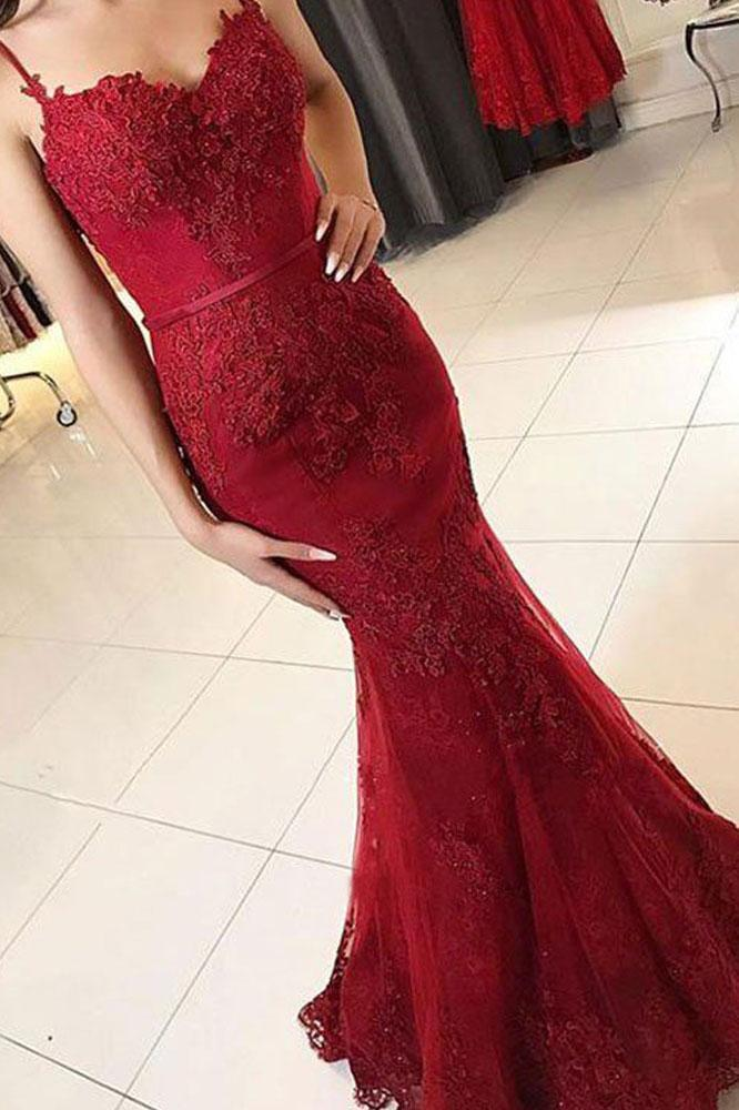 Mermaid Spaghetti Straps Burgundy Lace Appliques Prom Dresses Long Formal Dress