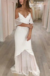 Mermaid Spaghetti Straps Cold Shoulder Wedding Dresses Prom Dresses