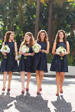Mini A line Dark Navy Jewel Sleeveless Above Knee Satin Short Bridesmaid Dresses