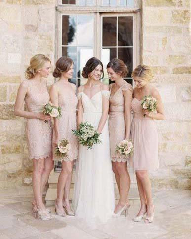 Mismatched Junior Short Lace Knee Length Blush Pink Bridesmaid Dresses Prom Dresses