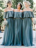 Off the Shoulder Chiffon Slate Gray Mismatched Bridesmaid Dresses Long Party Dresses