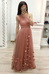One Shoulder A Line Tulle Blush Pink Floor Length Prom Dresses Cheap Long Evening Dress