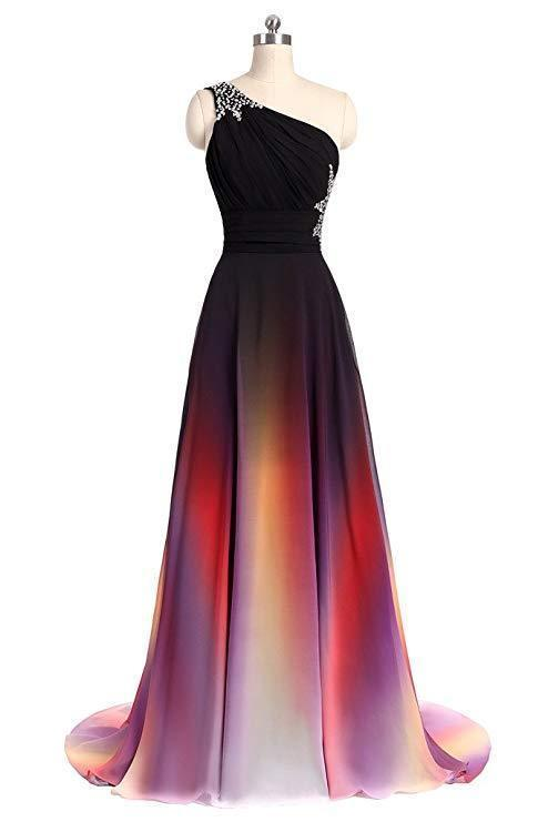 One Shoulder Ombre Chiffon Prom Dresses Lace up A Line Beads Ruffles Prom Gowns