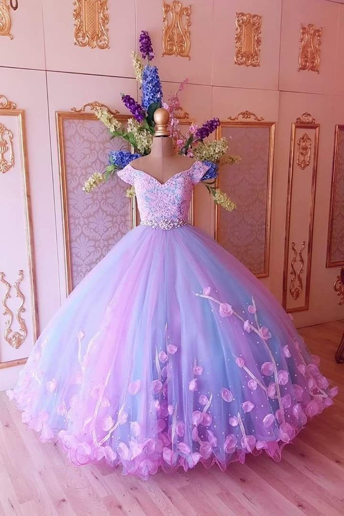 Princess Pink and Blue Ball Gown Off the Shoulder Prom Dresses Quinceanera Dresses
