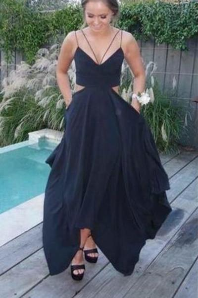 Sexy black chiffon v-neck with spaghetti straps long prom dress summer
