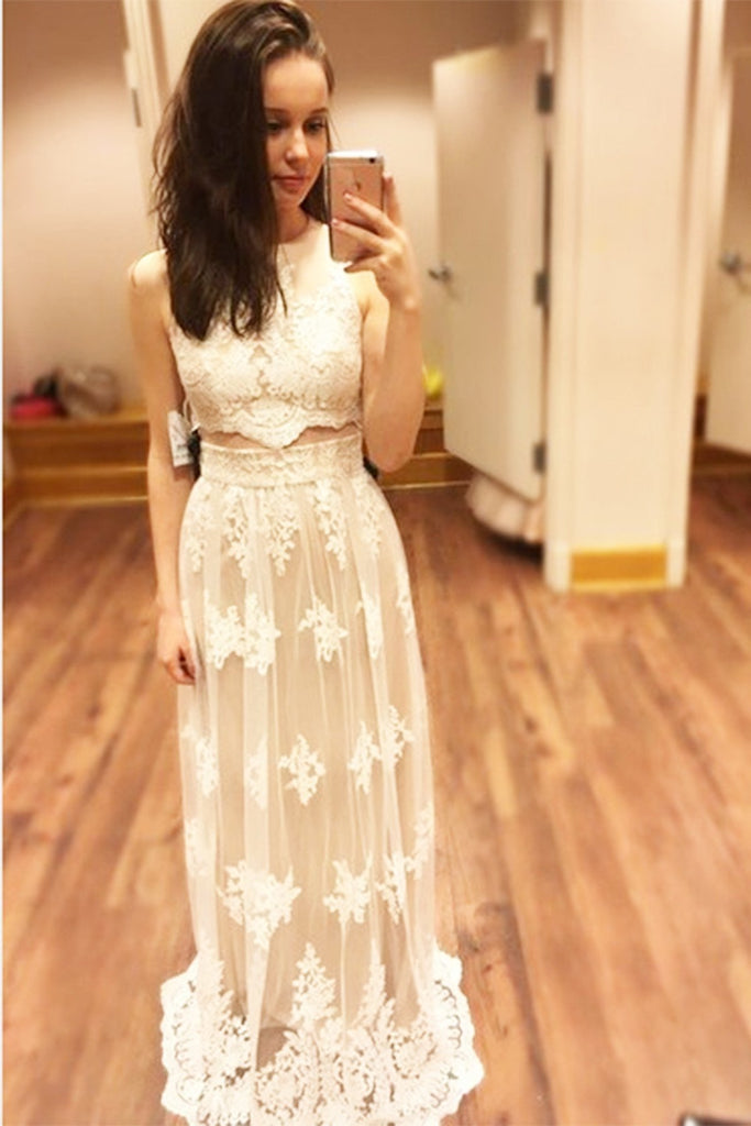 White lace round neck long prom dressï¼elegant dress for