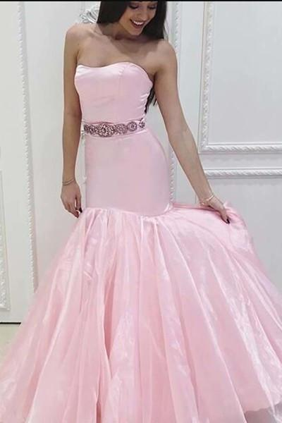 Pink stain tulle Spaghetti Straps mermaid long dresses sweetheart dress for prom