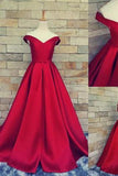 Simple Ball Gown Off The Shoulder Sweetheart Red Satin Fitted Corset Prom Dresses