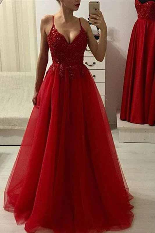 Red A Line Spaghetti Straps Beads Tulle Evening Dresses V Neck Long Prom Dress