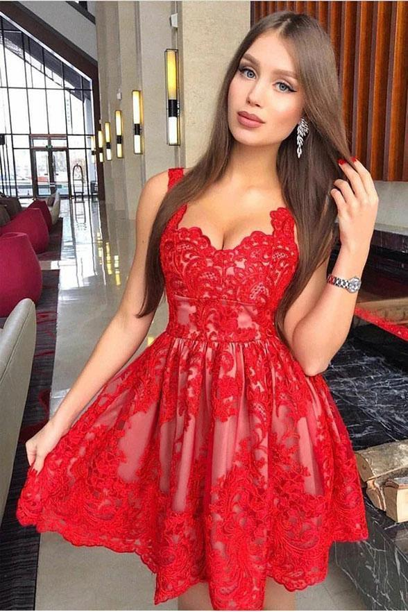 Red A Line Straps Homecoming Dress for Teens with Appliques Appliqued Prom Dress