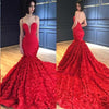 Red Mermaid Prom Dresses Spaghetti Straps V Neck Trumpet Rose Lace Evening Dresses