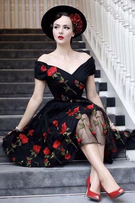 Retro Off the Shoulder V Neck Tulle Black Short Sleeve Party Dress with Red Flowers
