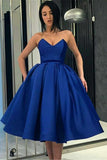 Royal Blue V Neck Satin Strapless Short Prom Dresses with Pockets Homecoming Dresses