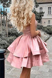 Satin A Line One Shoulder Pink Short Homecoming Dresses with Above Knee