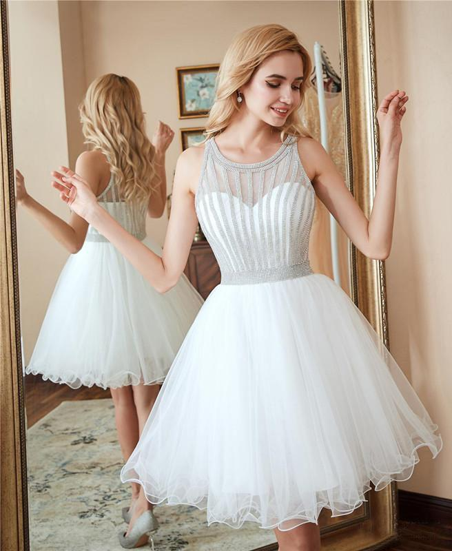 Scoop A Line White Homecoming Dresses Sequins Above Knee Tulle Short Prom Dresses