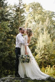 See Through Half Sleeve Ivory Country Wedding Dresses Backless Tulle Wedding Dress