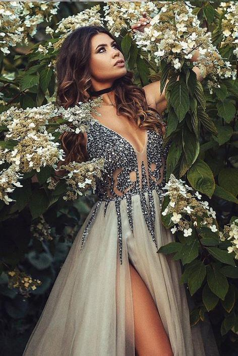 Sexy A Line Rhinestone Beaded High Slit Tulle Grey Long Deep V Neck Prom Dresses