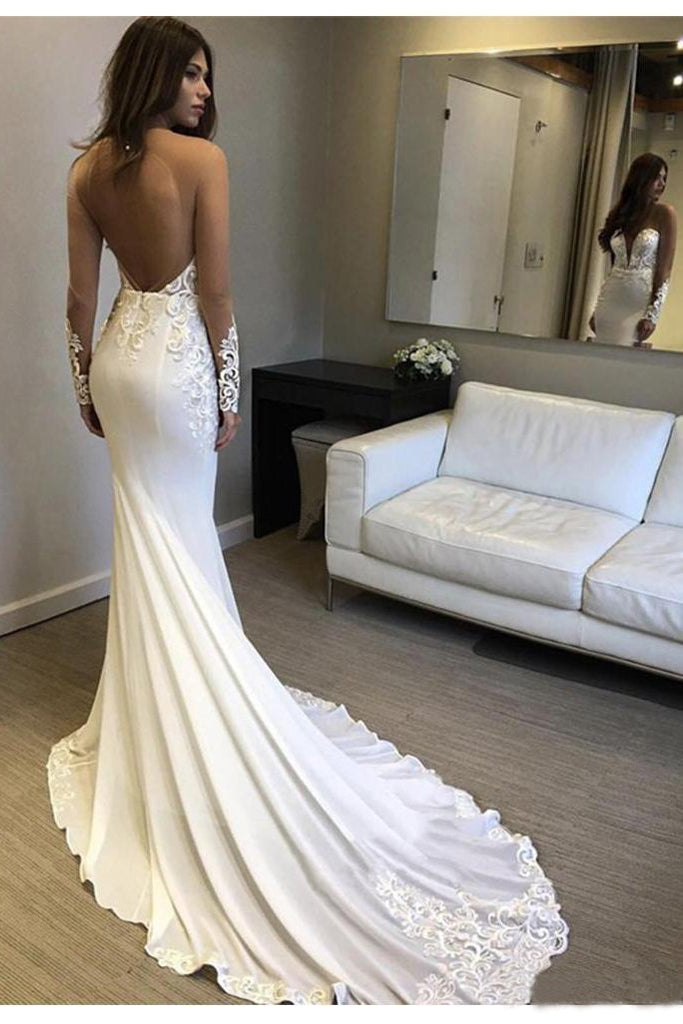 Sexy Berta Mermaid V Neck Wedding Dress Long Sleeves Open Back Wedding Gowns