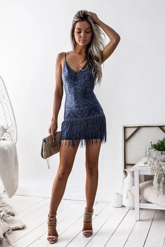 Sexy Navy Blue Spaghetti Straps Sheath V Neck Homecoming Dresses with Lace