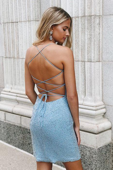 Sexy Spaghetti Straps Sheath Beaded Blue Scoop Criss Cross Homecoming Dresses