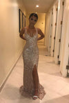 Sexy V Neck Sequins Side Slit Rose Gold Prom Dresses Long Mermaid Formal Dress