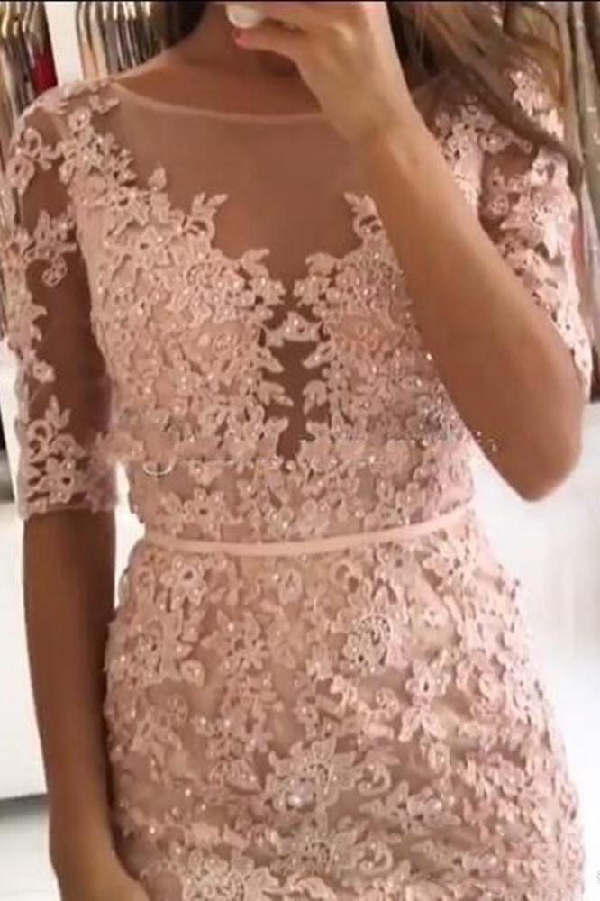 Sheath Pink Lace Appliques Beads Homecoming Dresses with Half Sleeve Prom Dresses