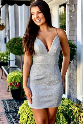 Sheath Spaghetti Straps Silver Sleeveless Short Homecoming Dress V Neck Prom Dresses