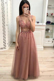 Simple A Line V Neck Prom Dress with Beading and Sequins Long Party Dress