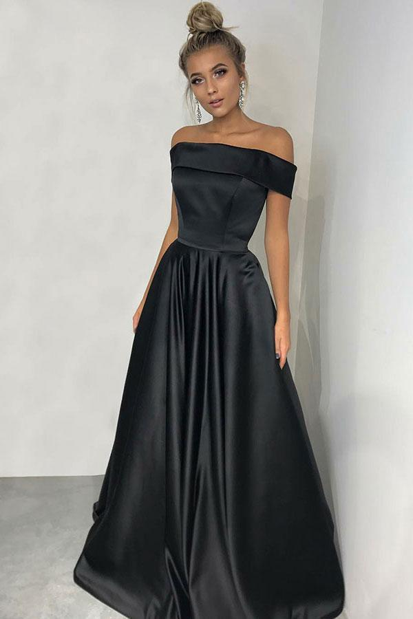 Simple Black A-line Off the Shoulder Satin Prom Dresses Long Party Dresses