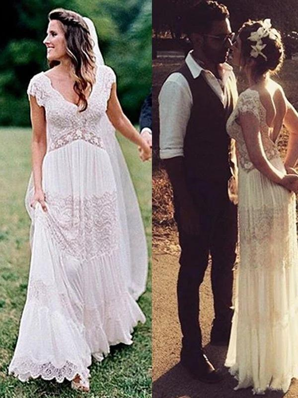 Simple Lace V Neck Ruched Short Sleeves White Floor Length Wedding Dresses