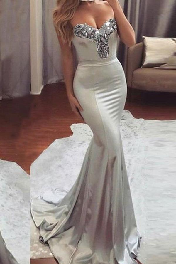 Simple Sweetheart Sleeveless Strapless Mermaid Gray Prom Dresses with Beading