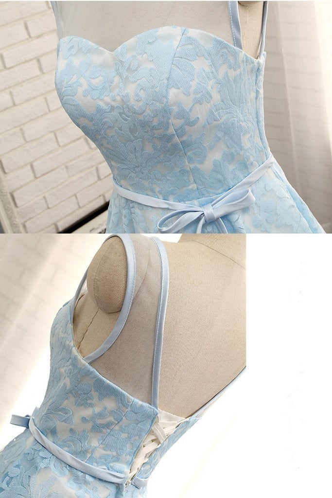 Simple Tea Length Light Blue Lace Homecoming Dress with Belt Short Prom Dress
