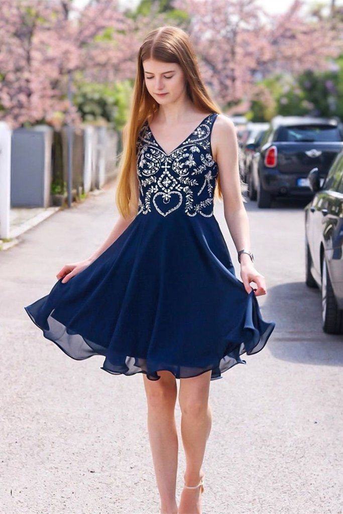 Simple V Neck Chiffon Navy Blue Homecoming Dresses with Appliques Party Dresses