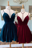 Spaghetti Straps Burgundy Deep V Neck Satin Homecoming Dresses Cocktail Dresses