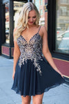 Spaghetti Straps Navy Blue Chiffon Short Party Dress with Appliques Homecoming Dress