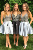 Straps Short Silver Beads Backless V-Neck A-Line Tulle Homecoming Dresses