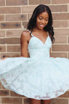 Straps A-line Short Blue V Neck Homecoming Dress Lace Appliques Backless Prom Dresses