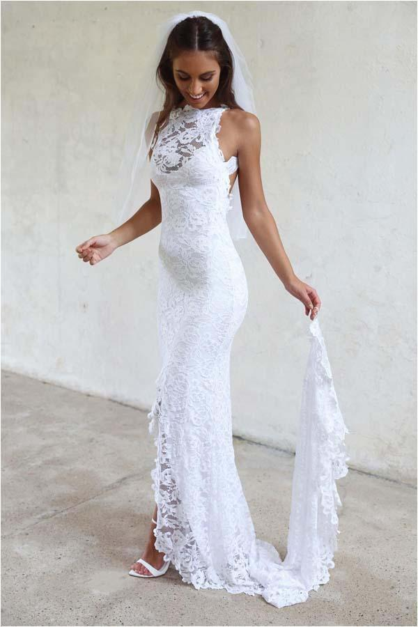 Sheath White Mermaid Round Neck Sweep Train Open Back Lace Wedding Dress with Split
