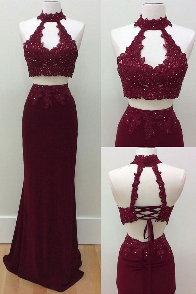 Mermaid Two Piece Burgundy Modest Long Halter Open Back Beads Prom Dresses