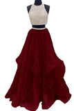Two Piece High Neck Burgundy Prom Dress Beaded Open Back Evening Gowns