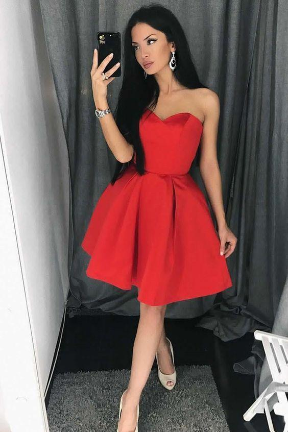 Unique A line Red Homecoming Dresses with Strapless Sweetheart Satin Prom Dresses