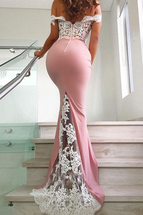Unique Pink Off the Shoulder Mermaid Lace Long Prom Dresses Cheap Party Dresses